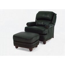 Hi Tilt-Back Leather Pub Chair and Ottoman