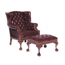 Tufted Leather Chair and Ottoman