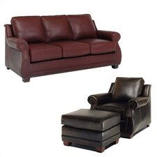 Amber Leather Sofa and Chair Set