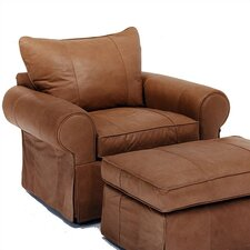 Skirted Leather Chair and Ottoman