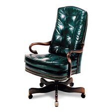 Semi-Attached Gooseneck High-Back Leather Swivel / Tilt Office Chair
