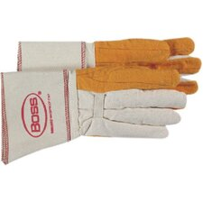 Gauntlet Cuff Chore Gloves - large 2-ply quilted fleece out palm welders glo