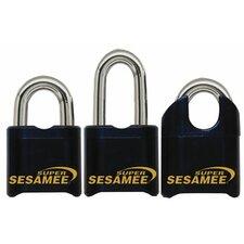 "Super Sesame Keyless Padlocks - super sesamee padlock 1""shackle 7/16 dia black"