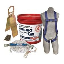 Compliance-In-A Can™ W/5 Point Harness, 50' Rope Lifeline, Snap Hook, Combination Rope Adj, Shock Absorbing Lanyard, Roof Anchor