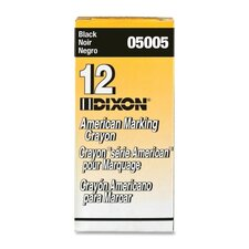 "Marking Crayons, Nontoxic, 5""x9/16"", Wax, Black"