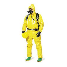 Yellow Tychem® BR Chemical Protection Coverall With Respirator Fit Attached Hood, Front Zipper Closure And Sock Boots