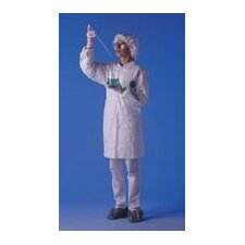 White Lab Coat With Serged Seams Collar And Front Snap Closure Size Large