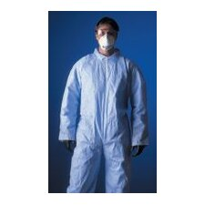 1 Large White Disposable Coverall With Hood, Elastic Wrists, Ankles And Back