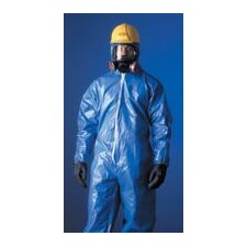 Large Tychem® CPF1 Blue Bound Seams Coverall With Attached Hood And Boots, Front Zipper Closure And Elastic Wrists