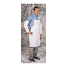 "28"" X 36"" White Tyvek® Disposable Bib Style Apron With Serged Seams And Bound Neck And Ties"