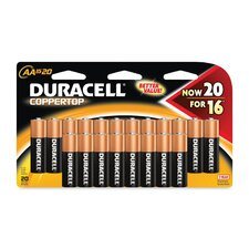 Coppertop Alkaline Batteries with Duralock Power Preserve Technology, Aa, 20/Pack