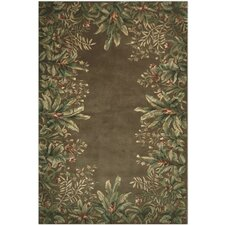 <strong>KAS Oriental Rugs</strong> Emerald Taupe Tropical Border Rug