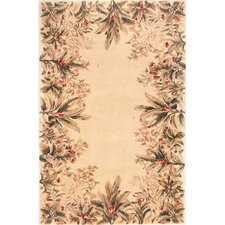 Emerald Ivory Tropical Border Area Rug