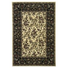 Cambridge Floral Ribbons Ivory & Black Rug