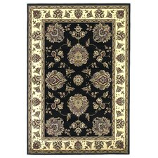 Cambridge Black/Ivory Floral Mahal Rug