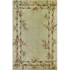 Sparta Bamboo Green Floral Area Rug