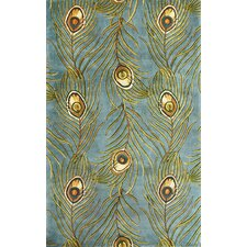 <strong>KAS Oriental Rugs</strong> Catalina Blue Peacock Feathers Novelty Rug