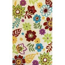 Sonesta Ivory Retro Floral Area Rug