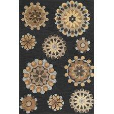 Milan Charcoal Retro Flora Rug