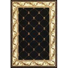 Corinthian Fleur-De-Lis Black Rug