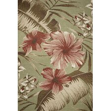 Horizon Sage Green Hibiscus Indoor/Outdoor Rug