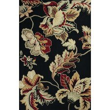 Colonial Black / Gray Floral Area Rug