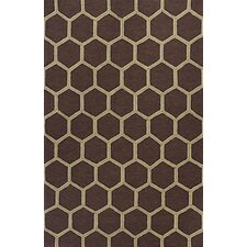 Meridian Mocha Honeycomb Outdoor Rug