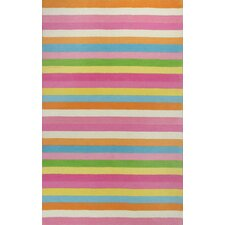 Kidding Around Chic Pink Stripes Area Rug
