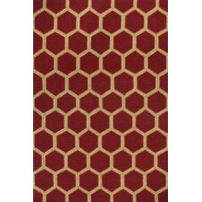 Meridian Red Honeycomb Outdoor Rug