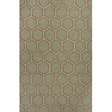 Meridian Seafoam Honeycomb Outdoor Rug