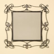 <strong>Passport Furniture</strong> Square Wall Mirror with Decorative Cross