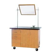 Mobile Instructor's Desk With Drawers and Center Storage