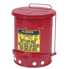<strong>Justrite</strong> Red Oily Waste Cans - 2 gallon countertop oilywaste can