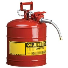 "Type ll Safety Cans for Flammables - 2 1/2 gal red safety canw/1"" dia hose"