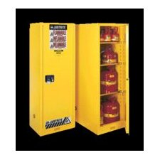 "X 23"" X 18"" Yellow 22 Gallon Slimline Sure-Grip® EX Safety Cabinet With 1 Manual Door And 3 Shelves"
