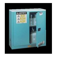 "X 43"" X 18"" Blue 45 Gallon Steel Sure-Grip® EX Safety Cabinet For Corrosives With 2 Manual Doors And 2 Shelves"