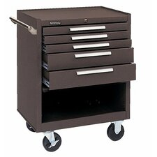 Industrial Series Roller Cabinets - 00060 roller cabinet 5 drawer w/compartment brn