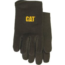 Large Black Jersey PVC Dotted Palm Gloves CAT0153
