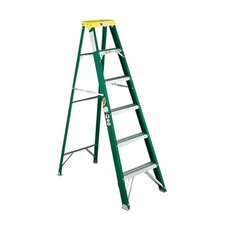 592 Six-Foot Folding Fiberglass Step Ladder in Green / Black / Yellow