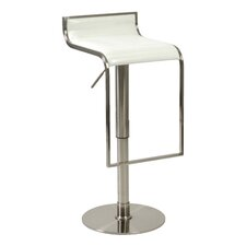 Forest Adjustable Bar Stool in White Leather