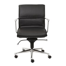 Leif Low-Back Leatherette Office Chair with Arms