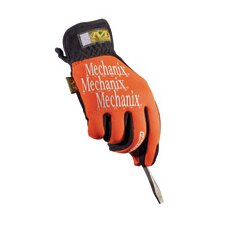 12 Orange Lycra® FastFit® Anti-Vibrations Gloves With Leather Palm And Angled Elastic Cuff