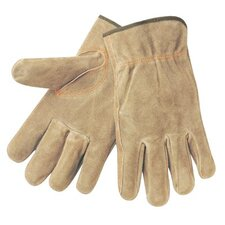 Driver's Gloves - split leather russet color elastic bac