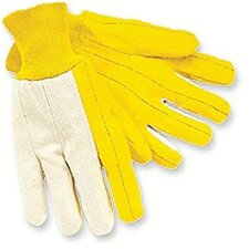 Chore Gloves - reg. weight canvas backwhite knit wrist golde