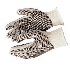 PVC Dot String Knit Gloves - large cotton/polester natural pvc dots/1 side