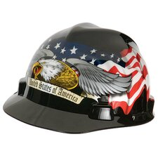 Eagle V-Gard® Freedom Series™ Class E Type I Hard Cap With Fas-Trac® Suspension And Eagle, United States Of America And Flowing U.S. Flags On Front