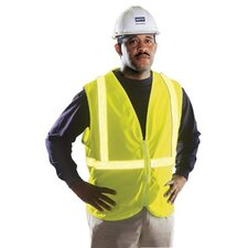 ANSI/ISEA 107 Compliant Vests - large hi-viz lime zippered vest 100% polyester