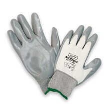 9 Gray And White NitriTask Nylon Nitrile Coated Work Gloves With Knit Wrist