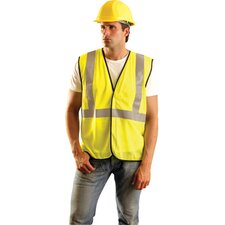 "- Medium Yellow Flame Retardant Mesh Class 2 Vest With 2"" Reflective Stripes"
