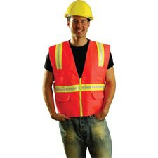 Hi-Viz Orange OccuLux® Polyester Surveryor Vest With 2 Tone Trim, 2 Surveryor Top Front Pockets, 2 Lower Front Pockets With Flap Covers, 2 Large Inside Pockets And Zipper Closure